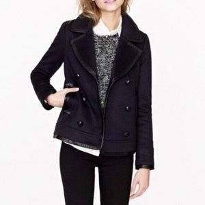 J. Crew Collection Leather Trim Wool Pea Coat Navy